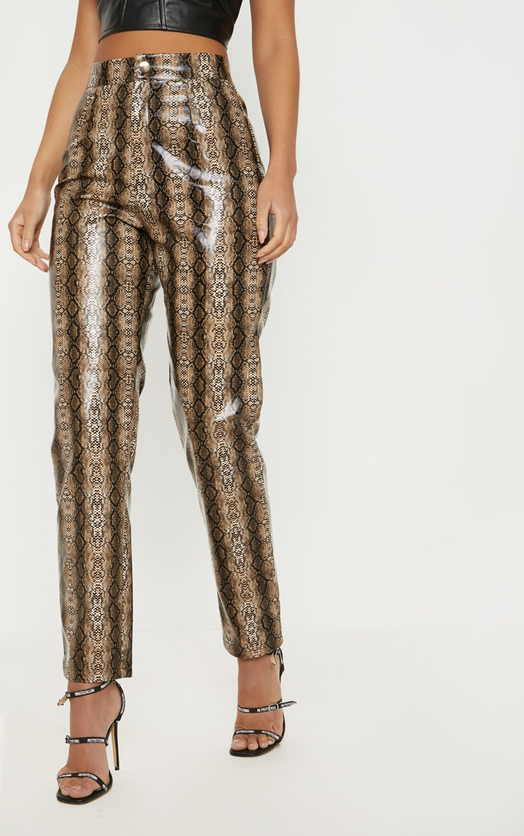 Brown Faux Leather Snake Print Slim Leg Trouser  2