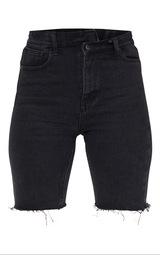 Washed Black Asymmetric Waist Longline Denim Shorts 6