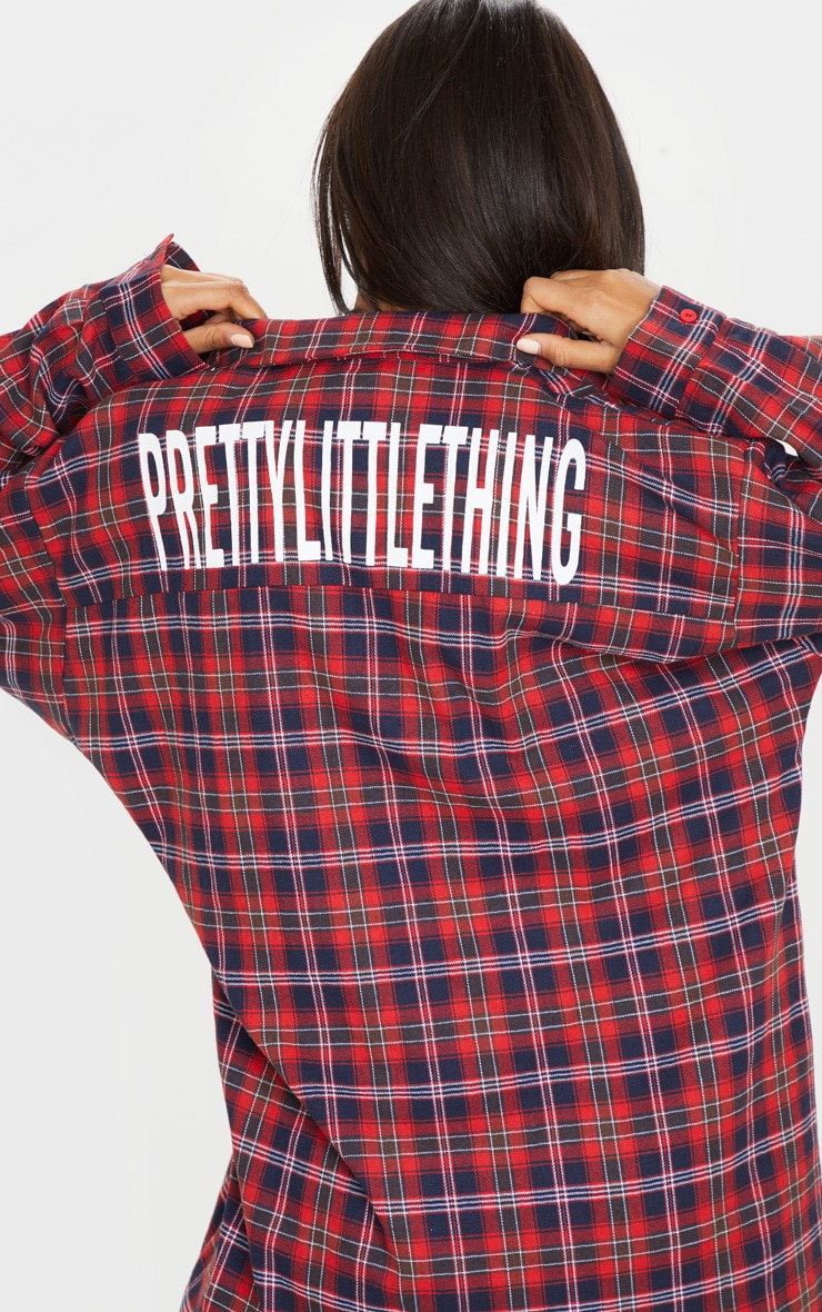 PRETTYLITTLETHING Red Slogan Checked Oversized Shirt Dress 6