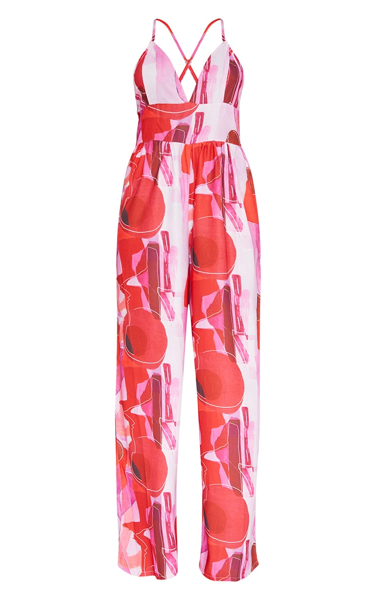 Pink Abstract Print Cross Back Strappy Wide Leg Jumpsuit 5
