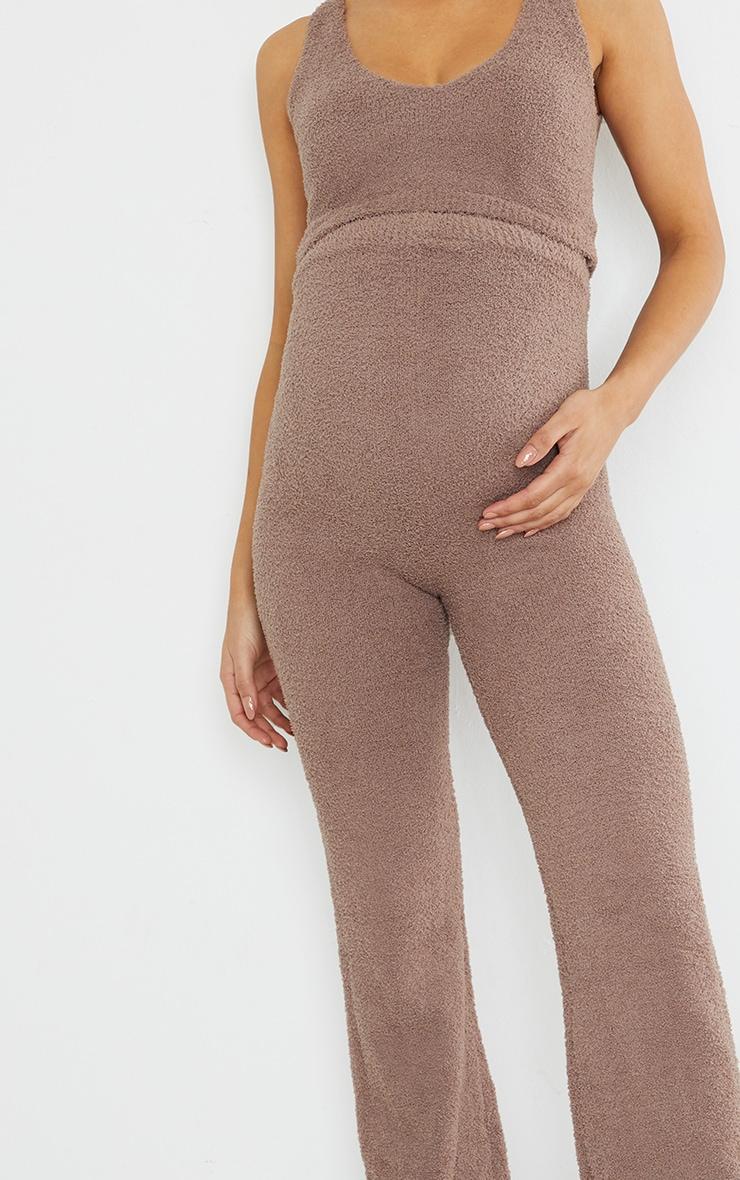 Maternity Chestnut Chenille Bralet And Wide Leg Trouser Lounge Set 4