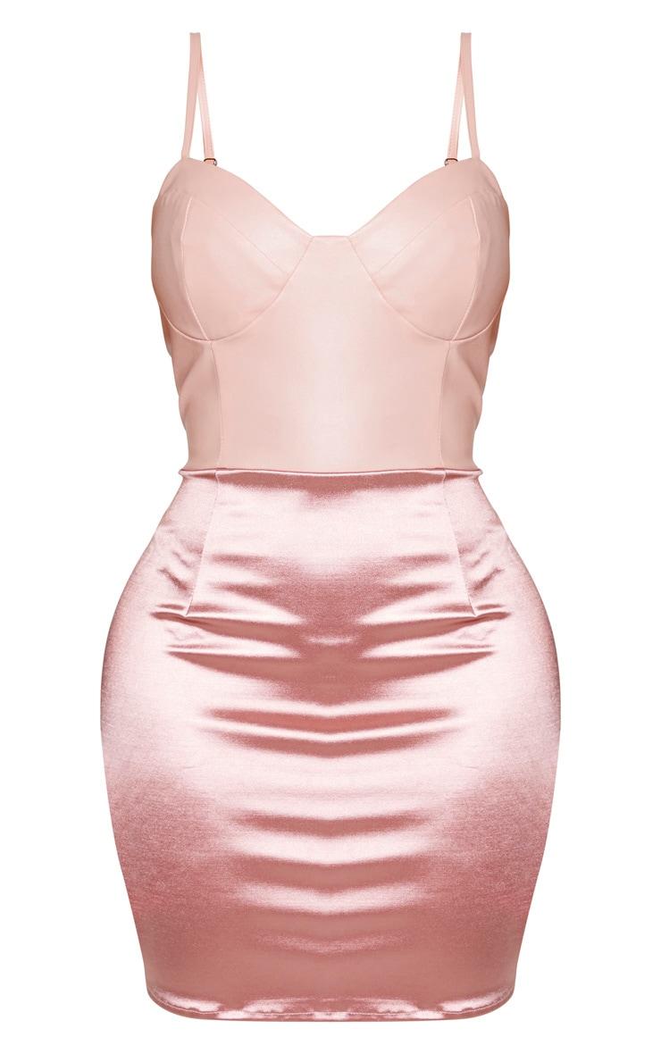 Shape - Robe moulante vieux rose à top similicuir avec armatures et jupe satinée 5