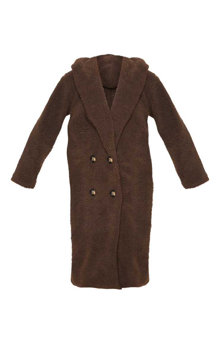 Chocolate Brown Borg Hooded Midi Coat 3