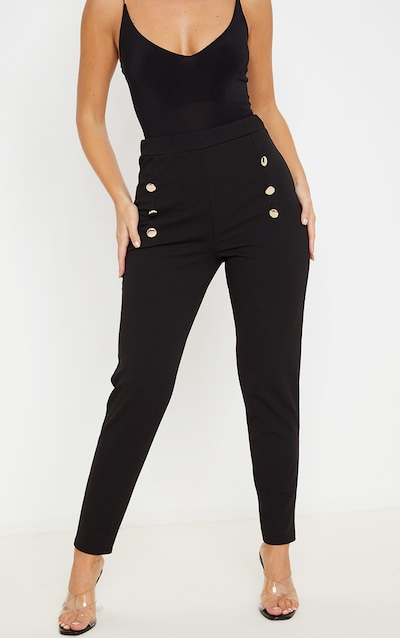 Black Button Front Skinny Trouser