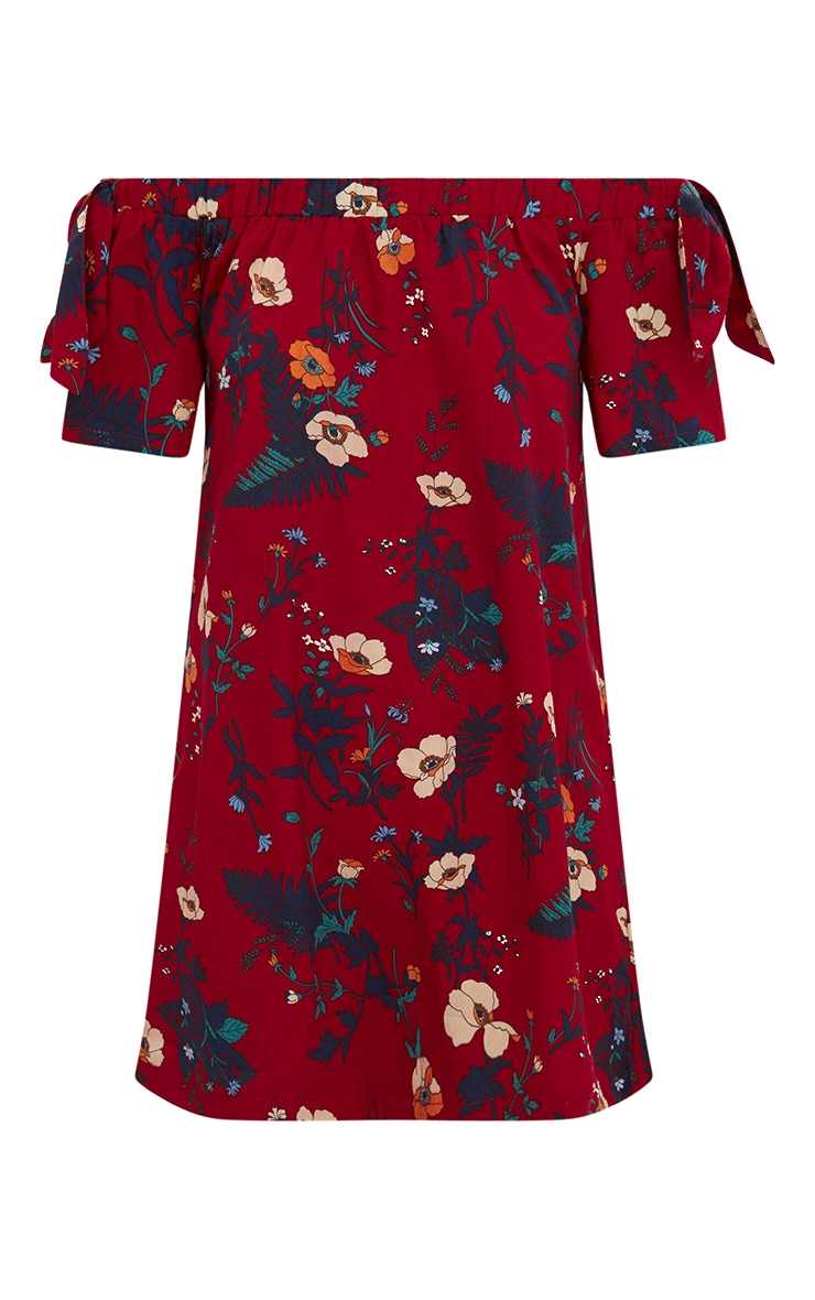 Burgundy Floral Crepe Bardot Swing Dress 3
