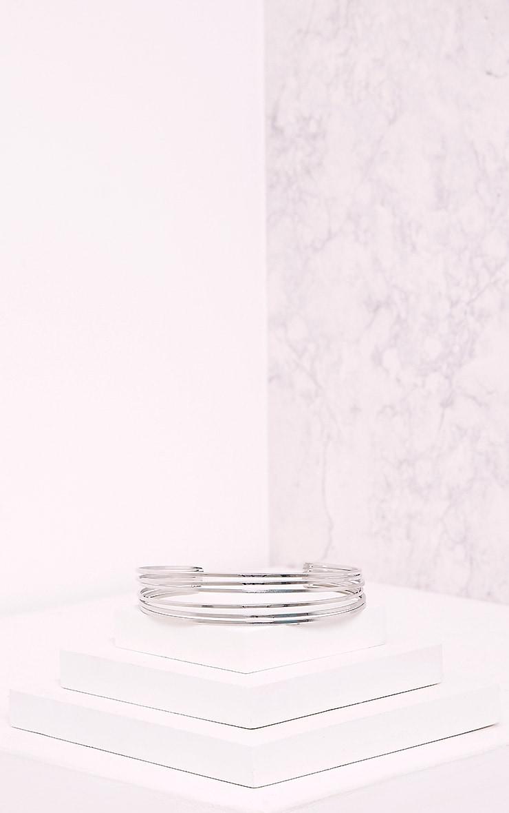 Hynnia Silver Metallic PU Double Layered Choker 4
