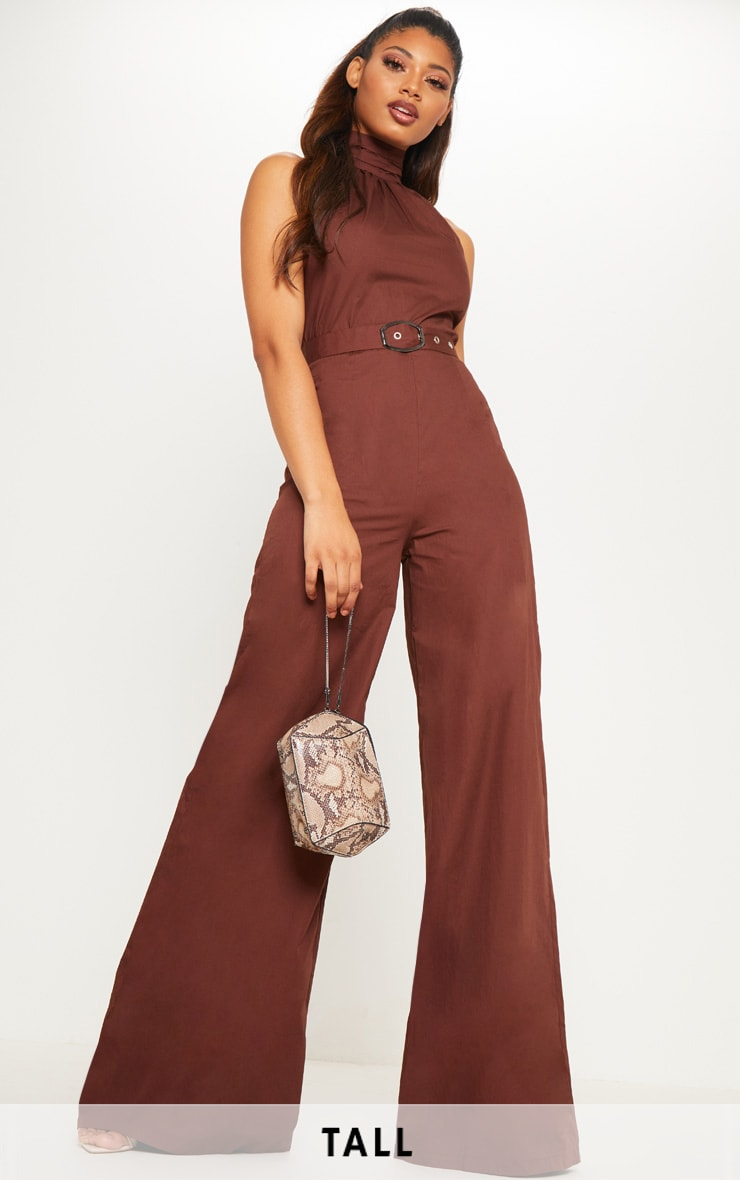 Tall Chocolate Brown Belt Detail Woven Wide Leg Jumpsuit 1