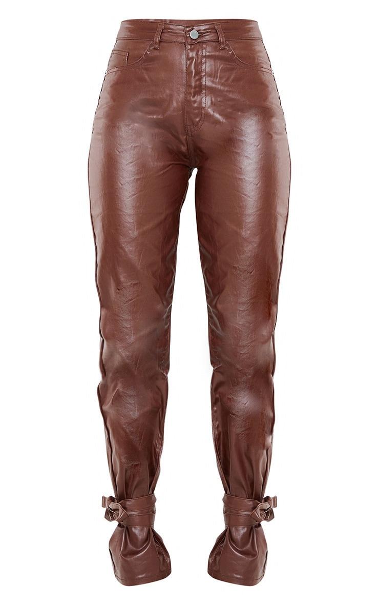 Chocolate Tied Hem Coated Straight leg Jean 5