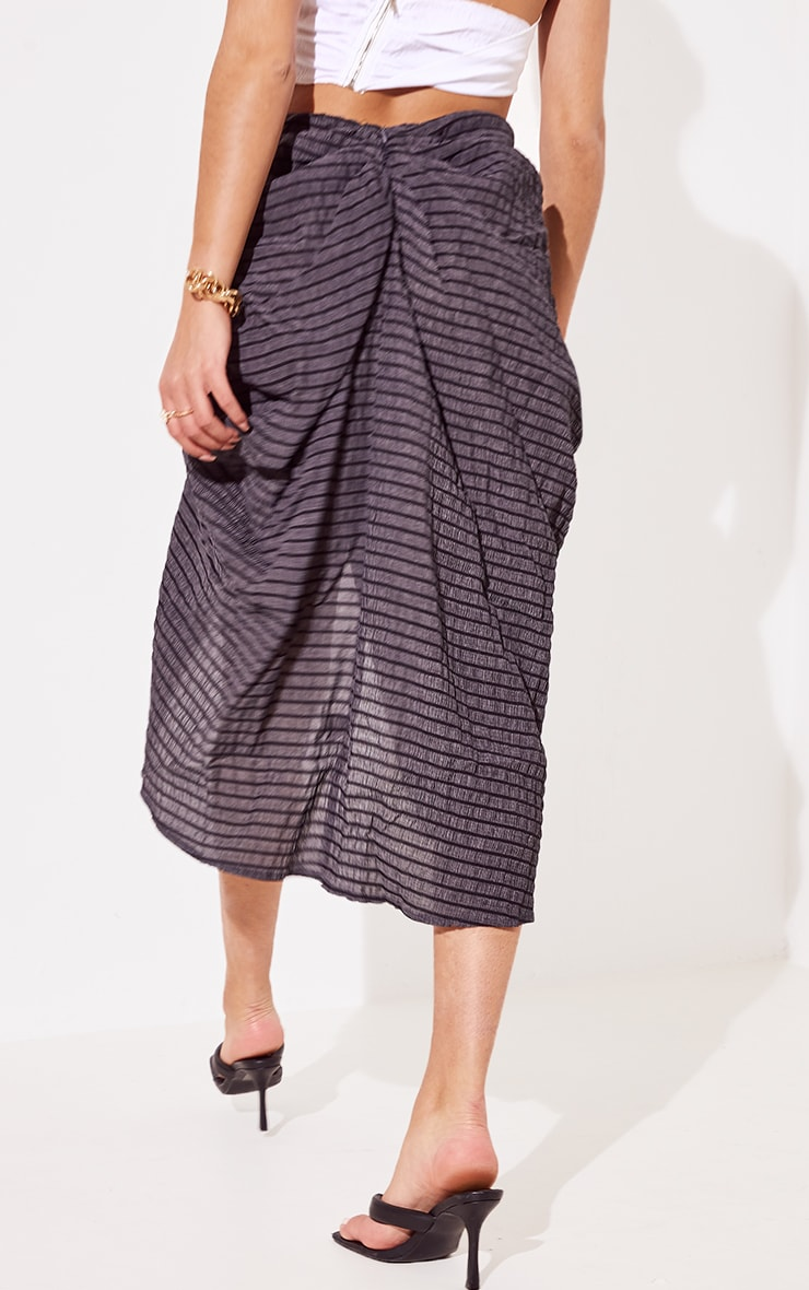 Black Textured Crepe Ruched Side Midi Skirt 3