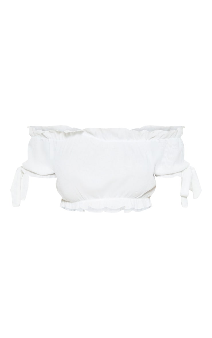 Norah White Bardot Bow Sleeve Jersey Crop Top 3
