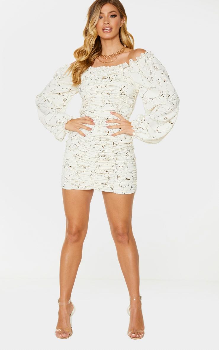 White Scribble Print Balloon Sleeve Bardot Ruched Bodycon Dress 3