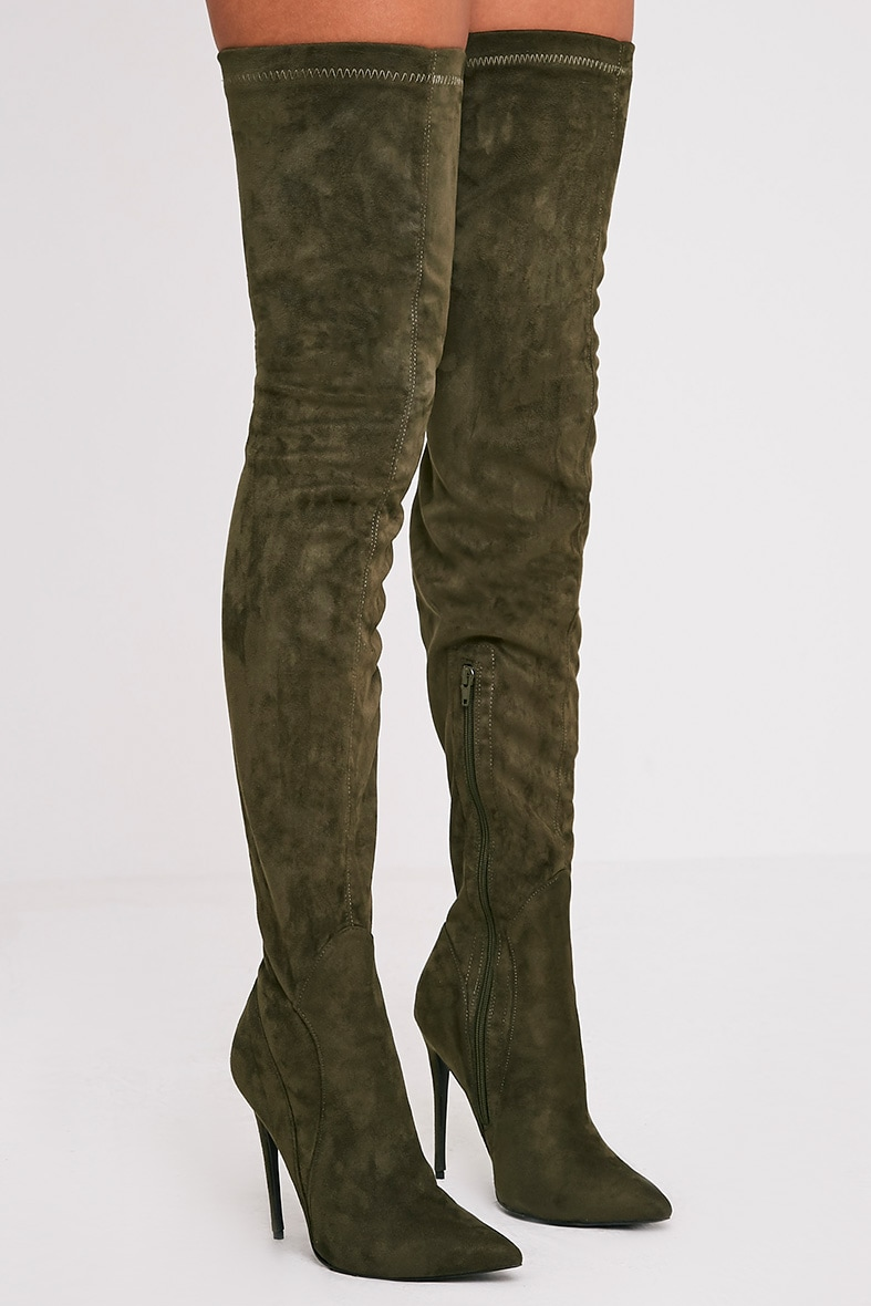 Emmie Khaki Faux Suede Extreme Thigh High Heeled Boots 2