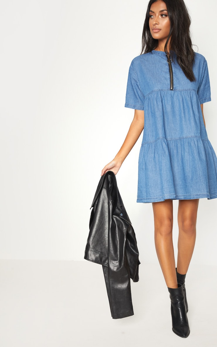 Mid Wash Chambray Tiered Smock Dress 1