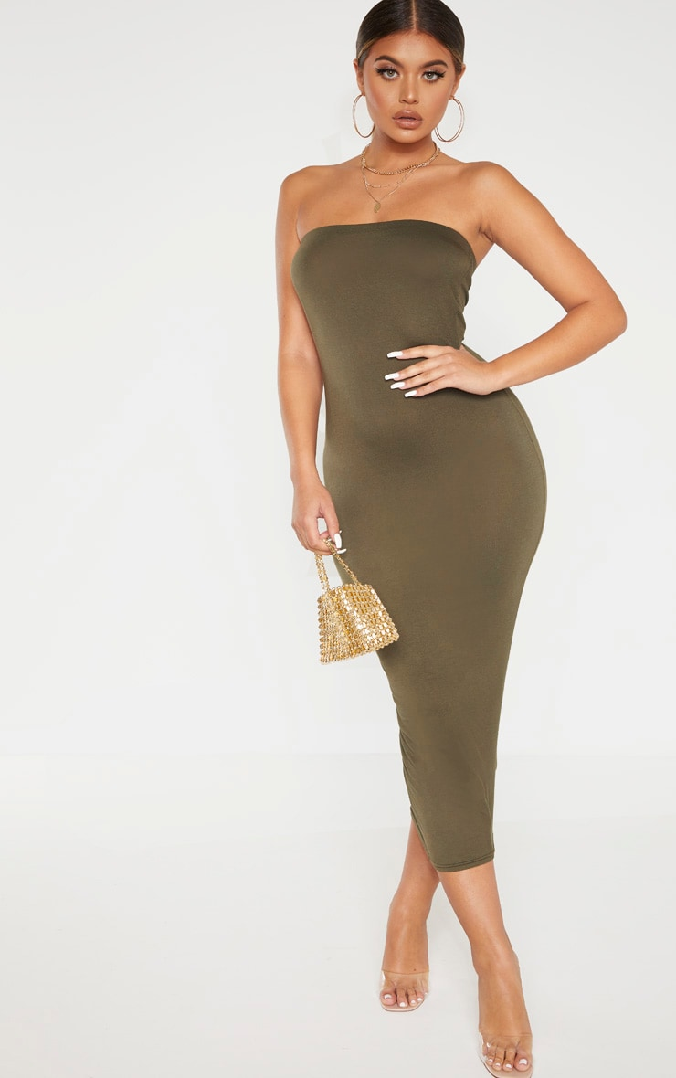 Khaki Bandeau Midaxi Dress 1