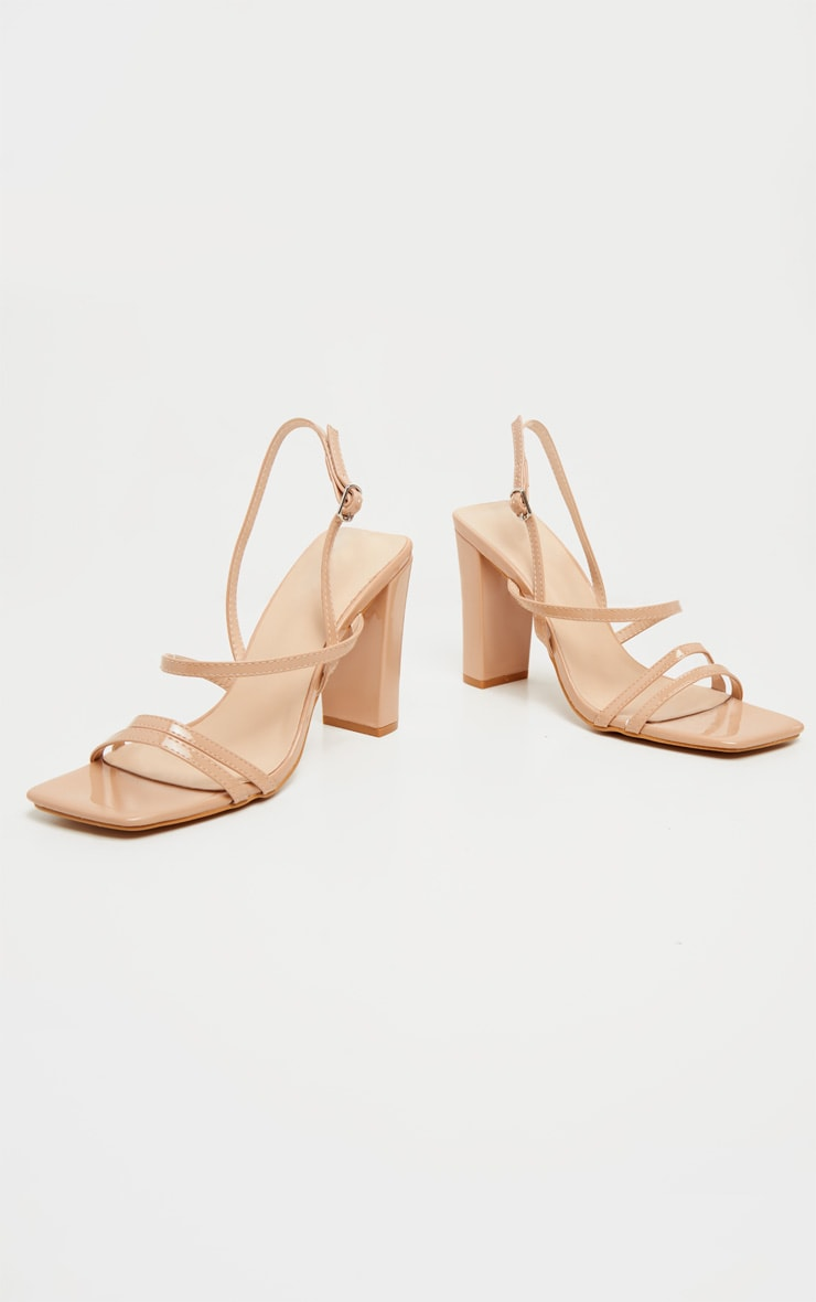 Nude Square Toe Flat Block Heel Strappy Sandal 4