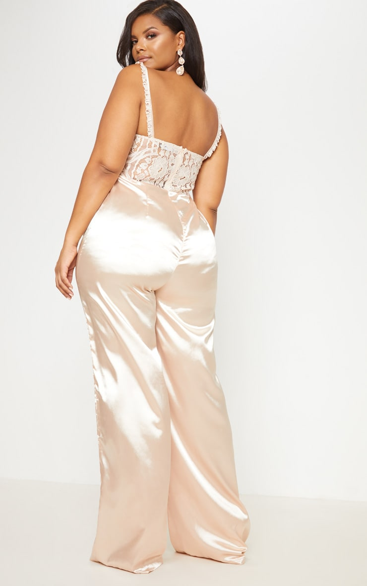 Champagne Frill Detail Lace Top Satin Jumpsuit 3