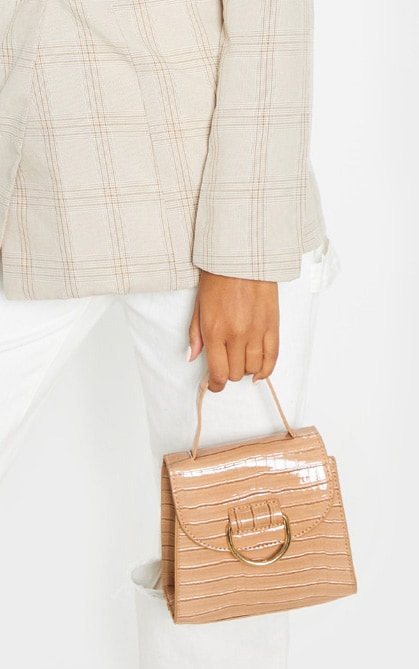 Nude Patent Croc PU Ring Detail Mini Bag 2