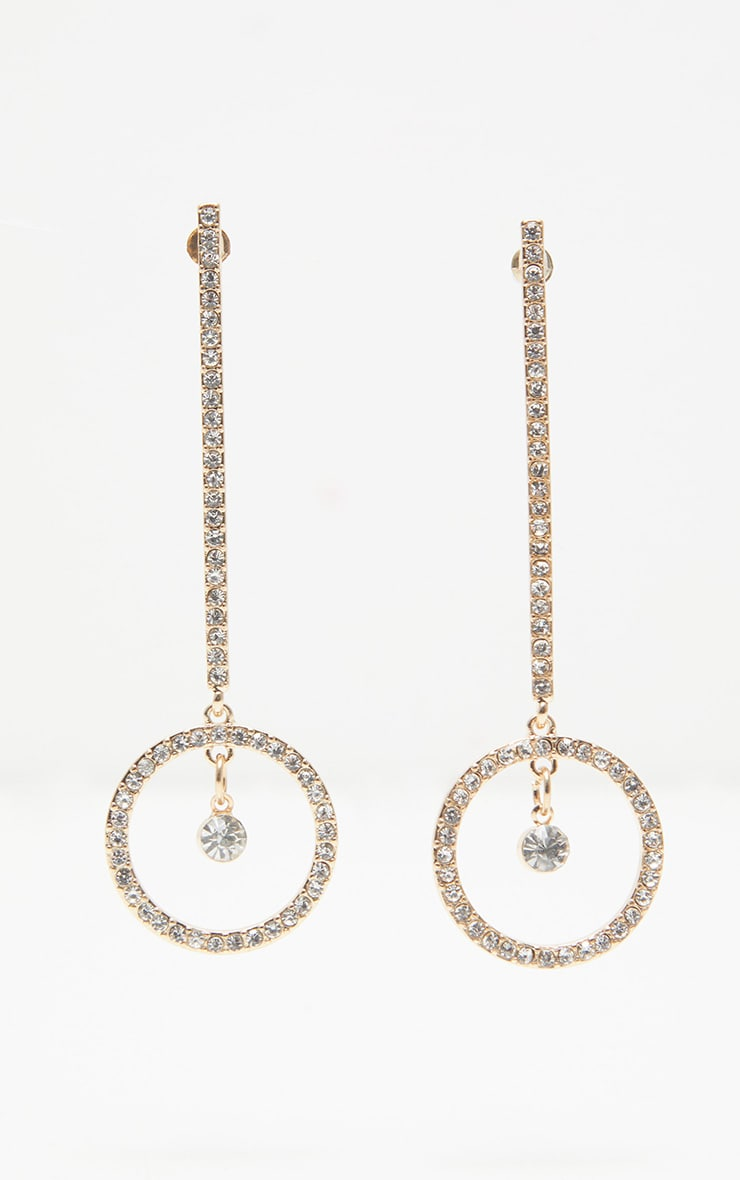 Gold Diamante Drop Circle Earrings 2