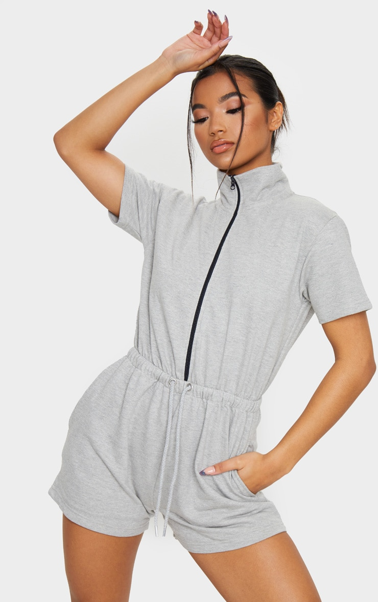 Grey Short Sleeve Zip Detail Sweat Romper 1
