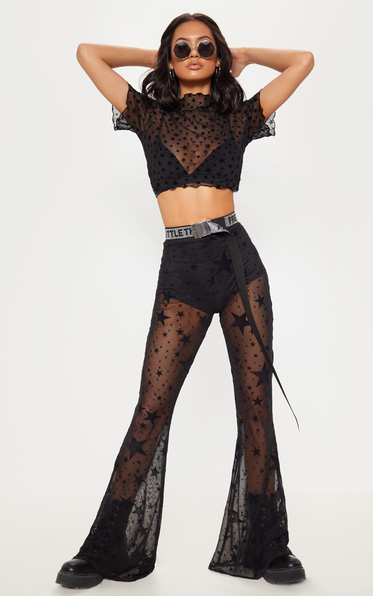 Black Mesh Star Flock Flared Pants 1