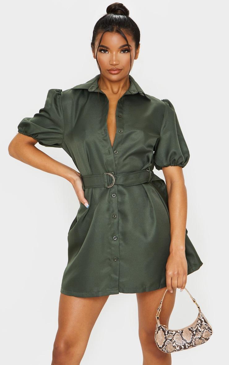 Khaki Puff Sleeve Belted Shirt Dress 1