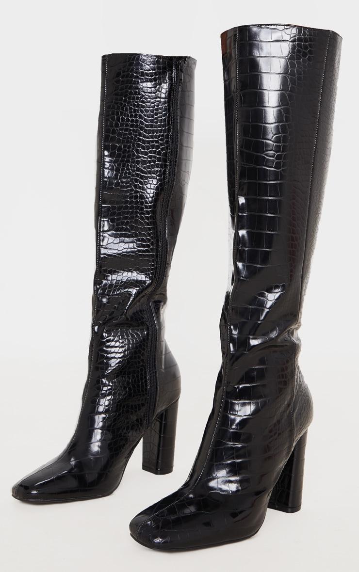 Black Round Block Heel Knee High Boots 3