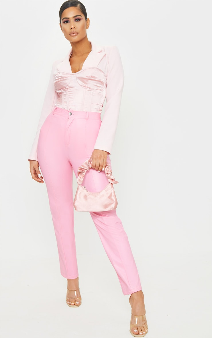 Pink Faux Leather Pintuck Skinny Trousers 1