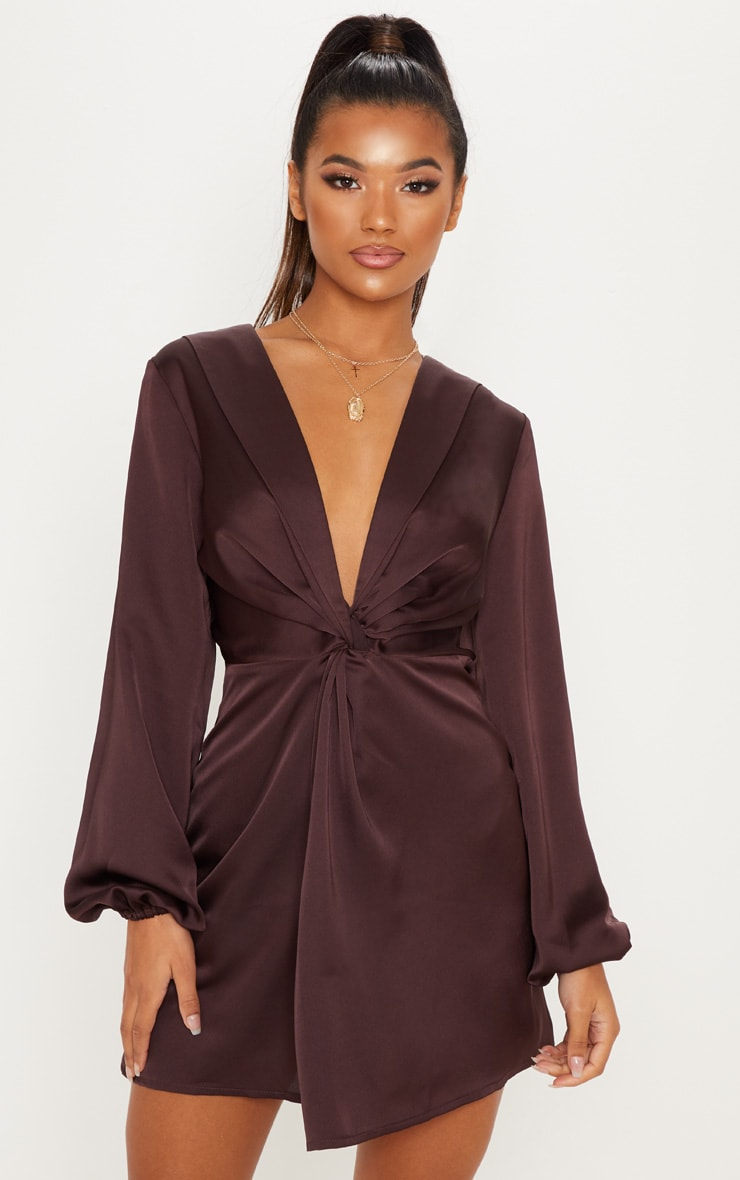 Chocolate Brown Satin Knot Detail Plunge Shift Dress 1