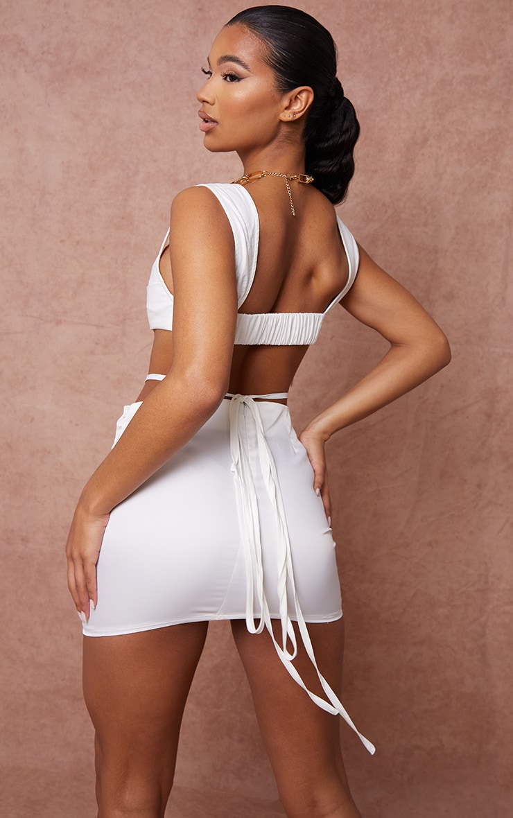 White Linen Feel Pleat Detail Wide Strap Bralet 2
