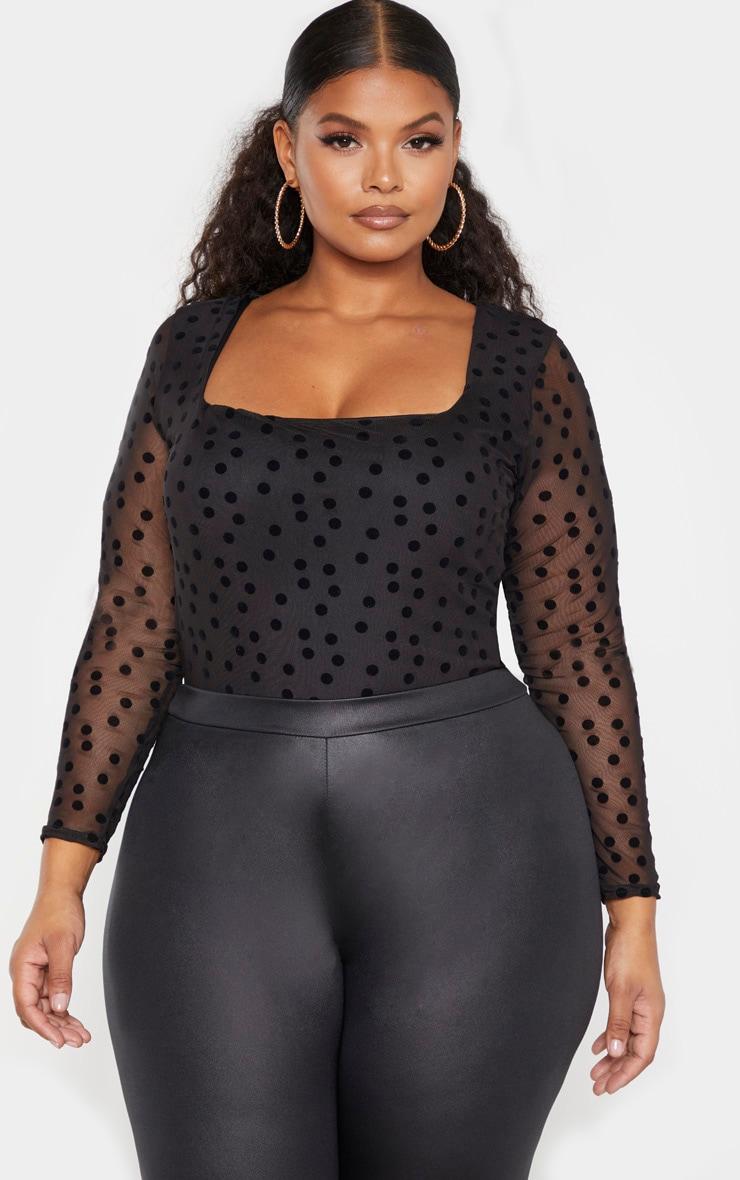 Plus Black Polka Dot Mesh Square Neck Bodysuit 1