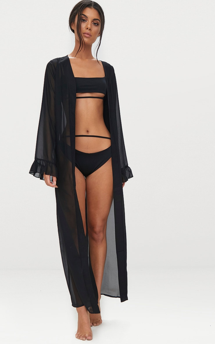 Alassia Black Frill Sleeve Kimono