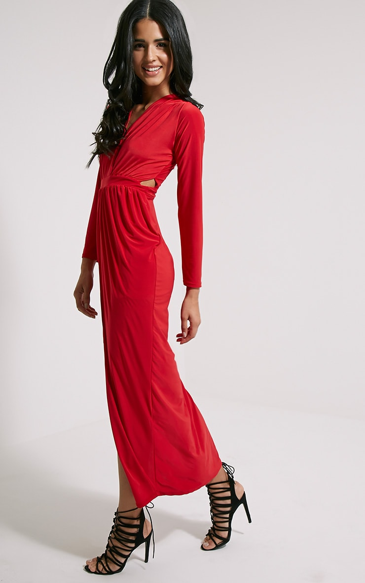Bex Red Cut Out Maxi Dress 4