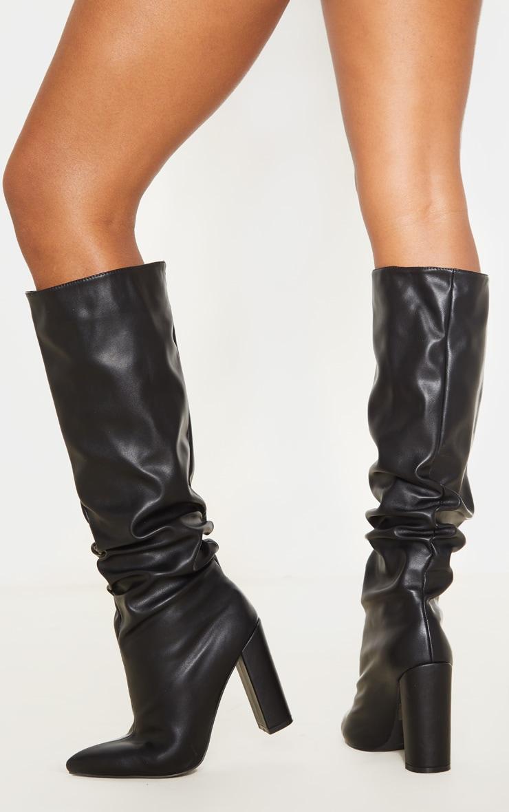 Black Slouch Block Heel Calf Boot 1