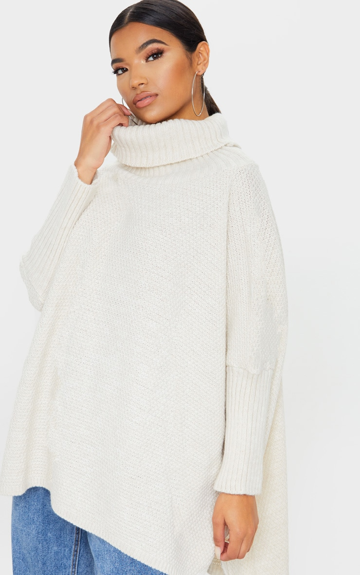 Oatmeal Oversized Slouchy Knitted Sweater 1