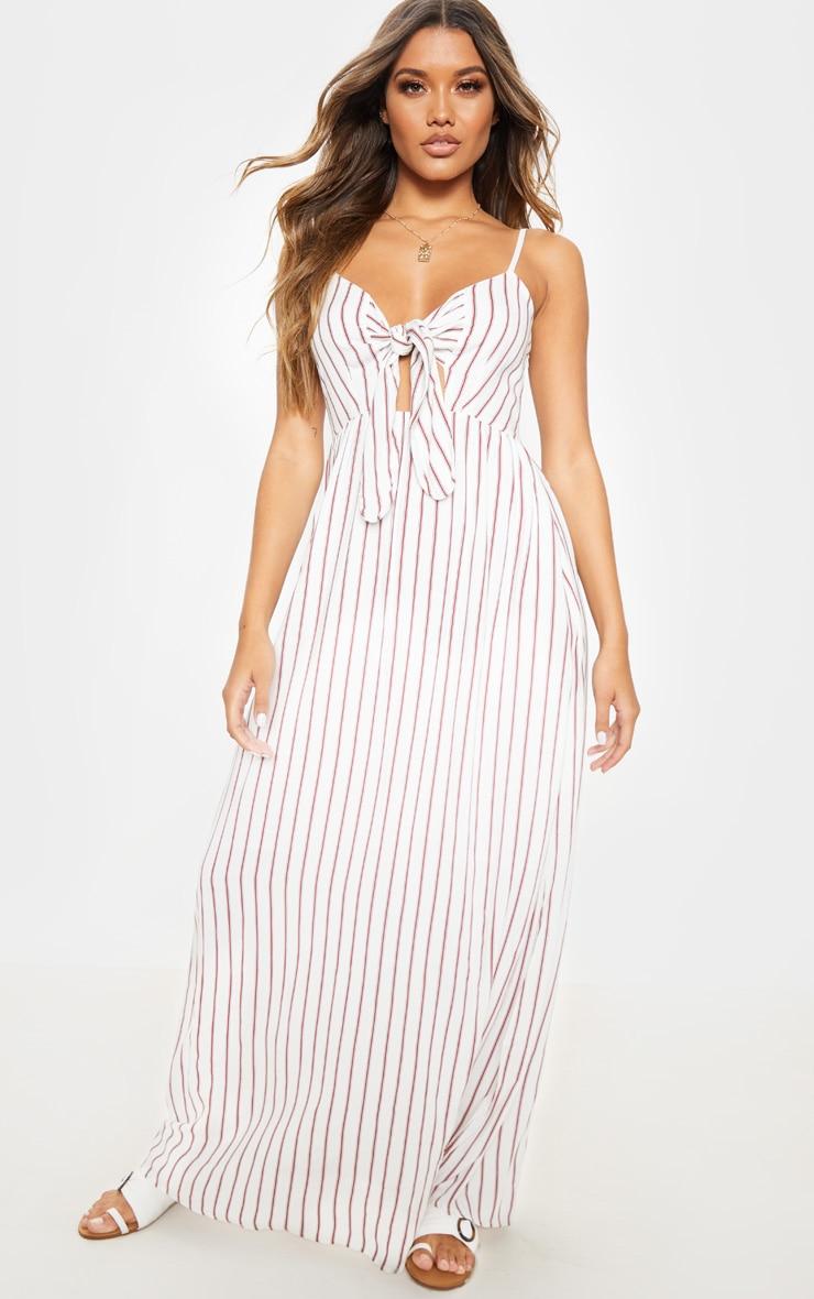 Cream Woven Stripe Button Through Tie Maxi Dress 1