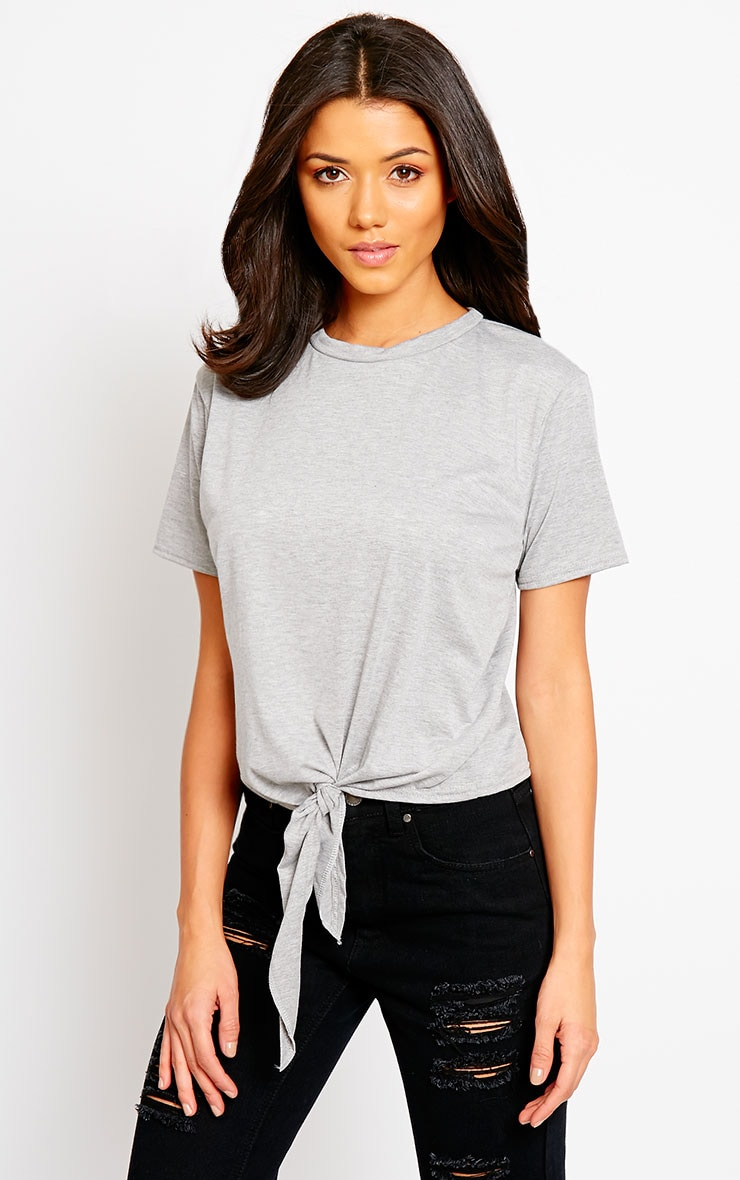 April Grey Tie Front Crop Tee 1