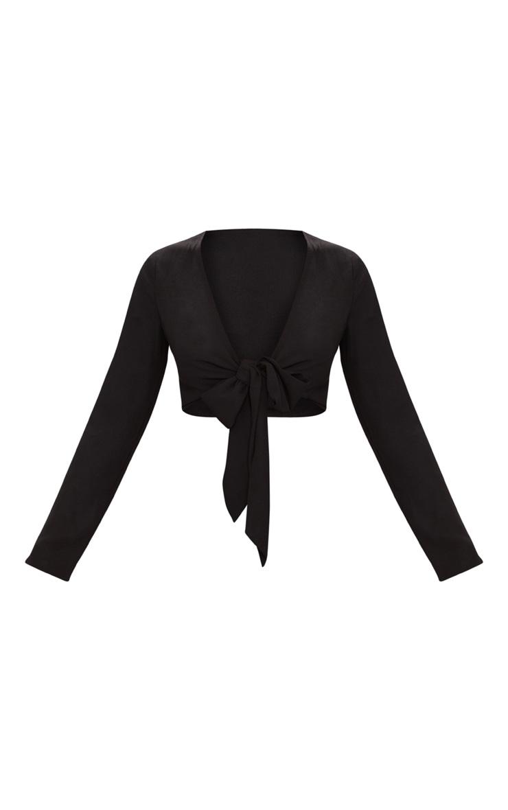 Black Tie Front Long Sleeve Crop Top 3