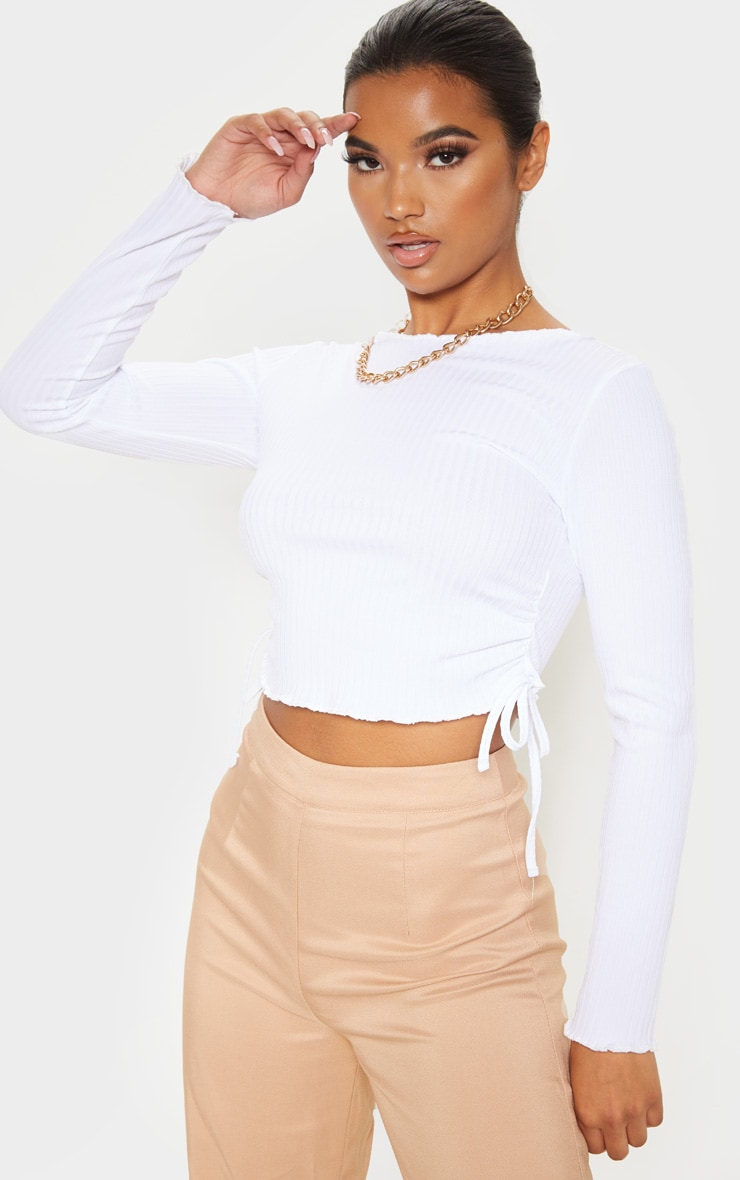 White Rib Ruched Side Long Sleeve Top 1