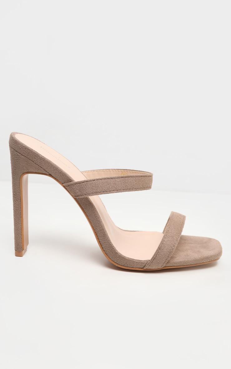 Nude Twin Strap Flat Heel Mule Sandal 3