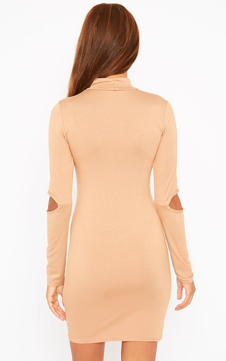 Basic Camel Slit Elbow Mini Dress 2