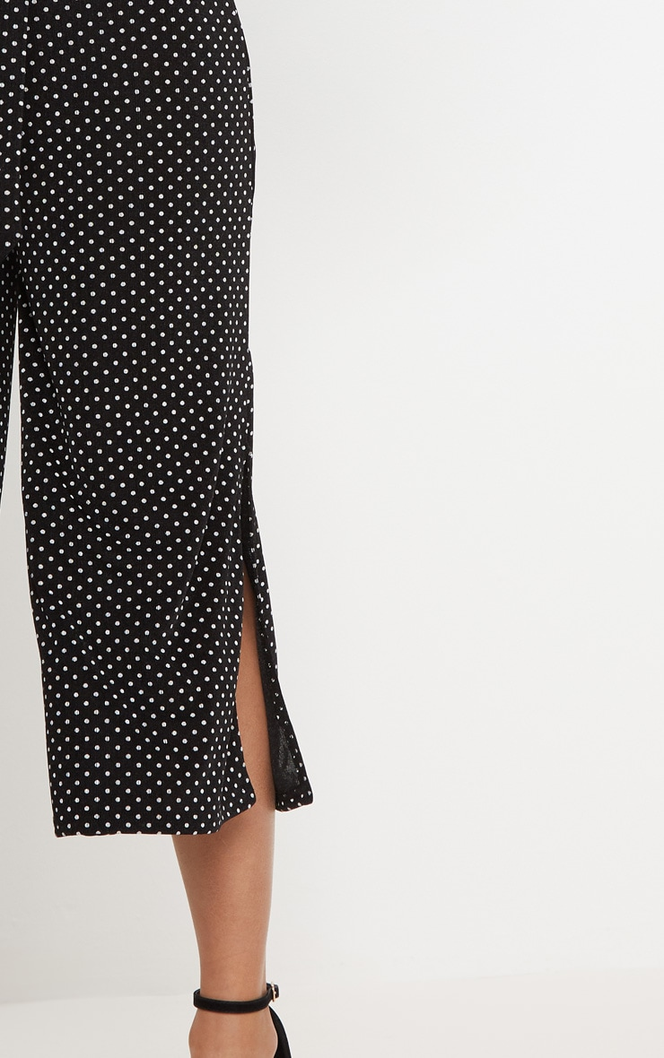 Black Polkadot Tie Waist Split Hem Detail Culotte 5