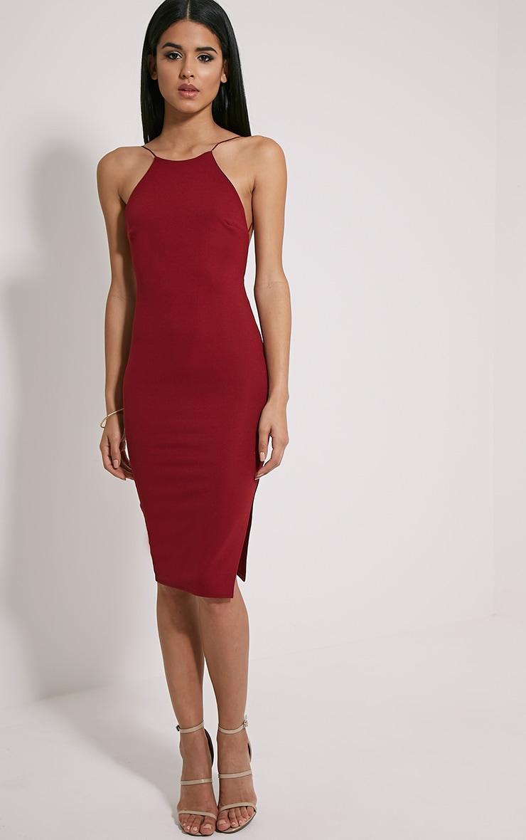 Kady Wine Backless Midi Dress 3