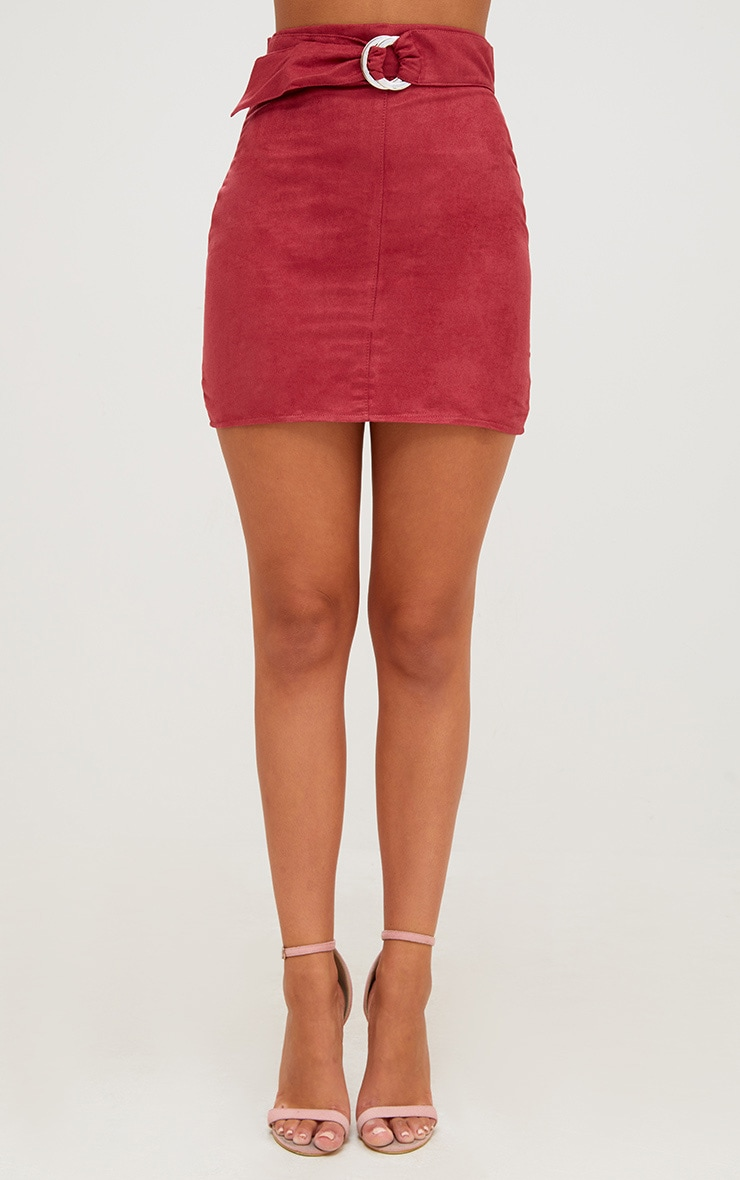 Red Faux Suede Belted Mini Skirt 2
