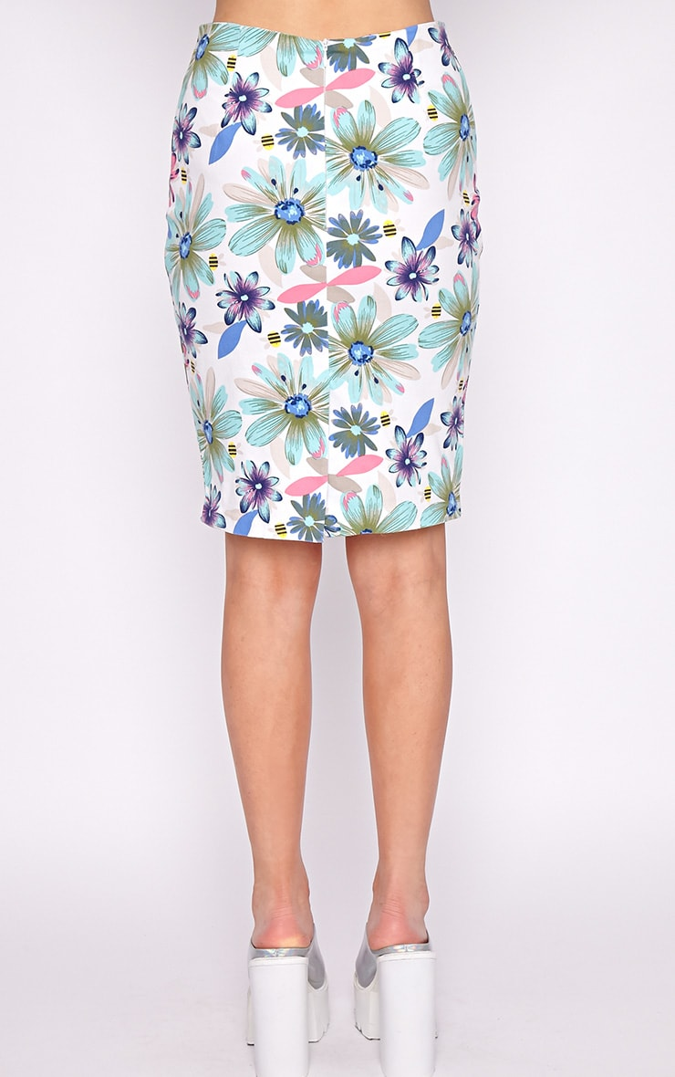 Ashleigh Mint Floral Midi Skirt  2