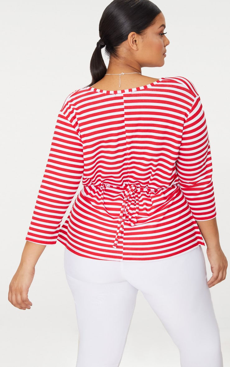 Plus Red Stripe Wrap Front Top 2