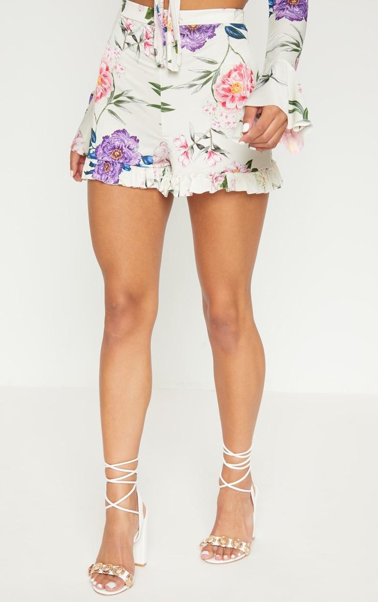 Nude Slinky Floral Frill Hem Shorts  2