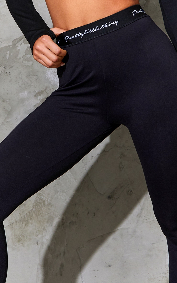 PRETTYLITTLETHING Black Elasticated Band Leggings 4