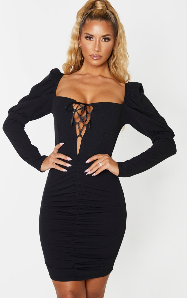 Black Long Puff Sleeve Ruched Lace Up Bodycon Dress 1