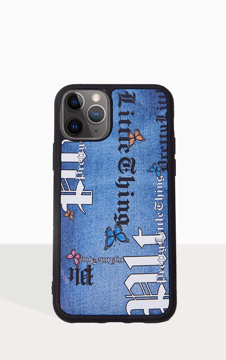 PRETTYLITTLETHING Blue Denim Look Butterfly Iphone 11Pro Phone Case 1