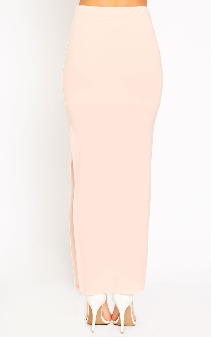 Helsa Nude Slinky Split Maxi Skirt 4